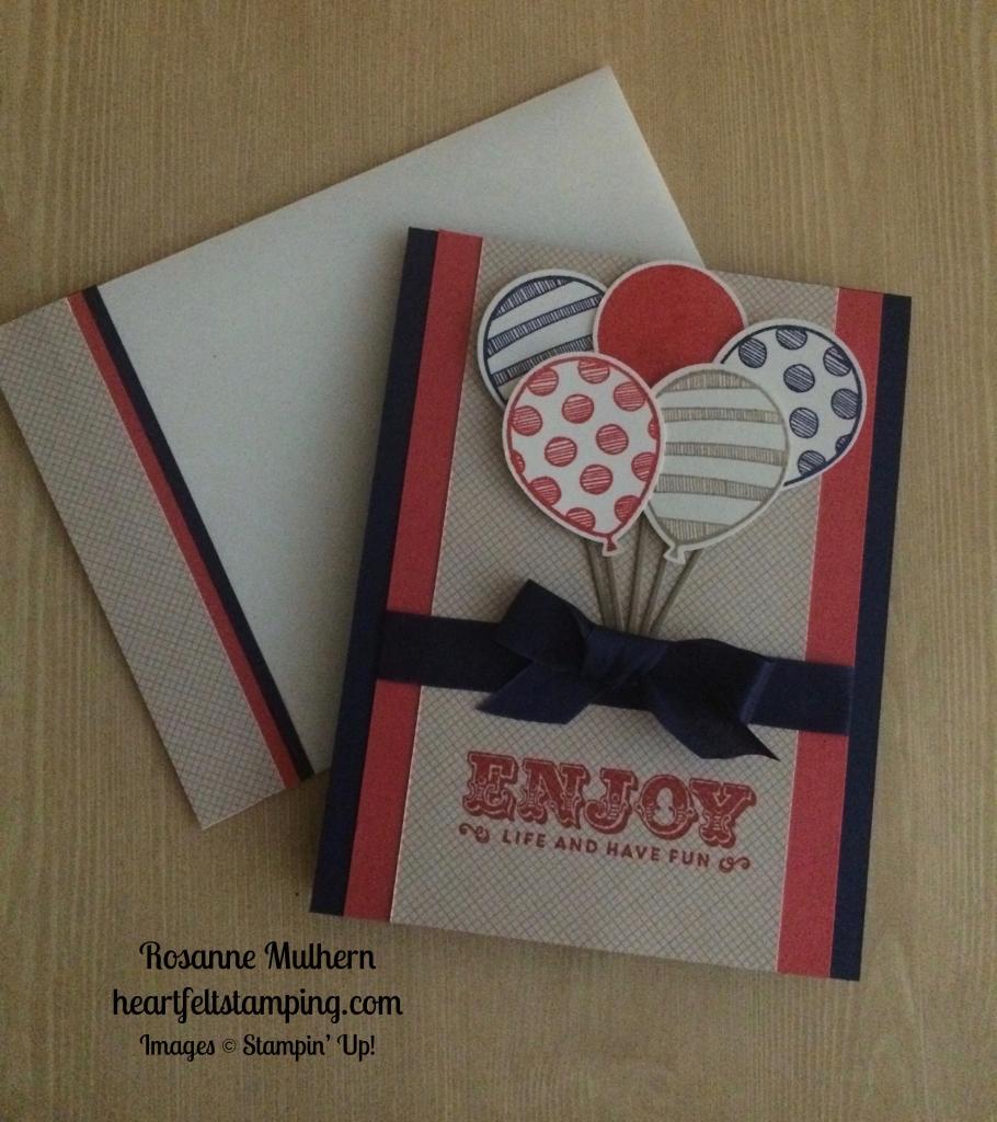 Stampin Up Balloon Adventures Birthday Card Idea Rosanne Mulhern Stampinup Heartfelt Stamping