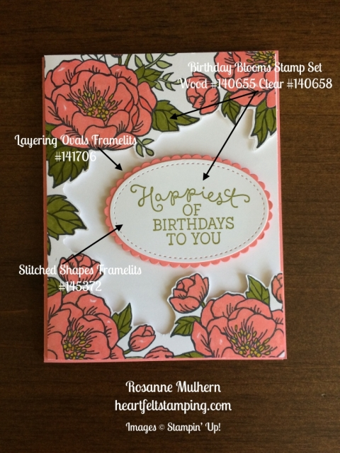 Stampin Up Birthday Blooms Birthday cards ideas - Rosanne Mulhern stampinup