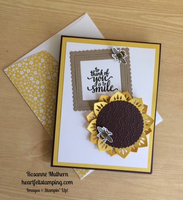 Stampin Up Eastern Palace Sunflower Love and Friendship Card Idea - Rosanne Mulhern