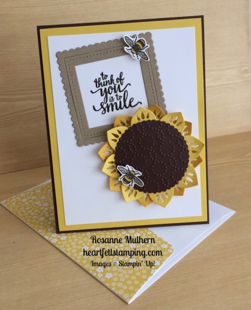 Stampin Up Eastern Palace Sunflower Love and Friendship Card - Rosanne Mulhern stampinup