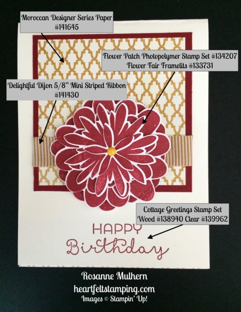Stampin Up Flower Patch Birthday Card Idea - Rosanne Mulhern stampinup