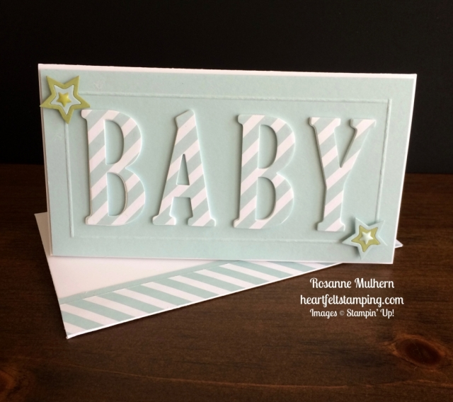 Stampin Up Large Letters Baby Card Idea - Rosanne Mulhern