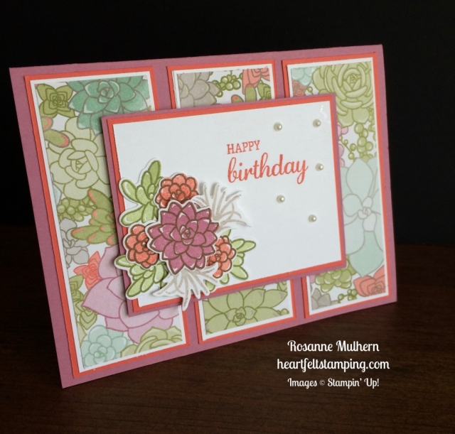 Stampin Up Oh So Succulents Birthday Card Idea - Rosanne Mulhern