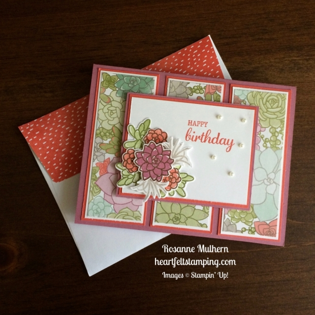 Stampin Up Oh So Succulents Birthday Card - Rosanne Mulher