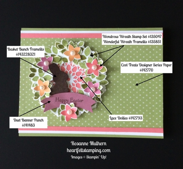 Stampin Up Wondrous Wreath Easter Card Ideas - Rosanne Mulhern stampinup
