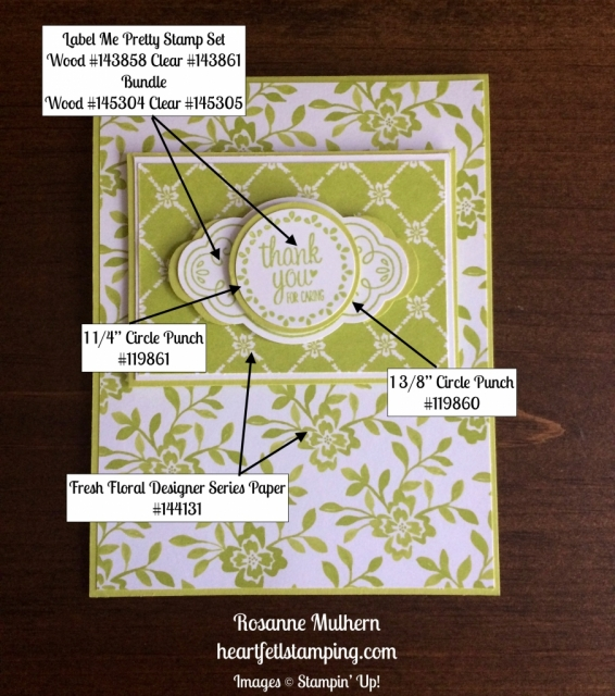 Stampin Up Label Me Pretty Thank You Cards Ideas - Rosanne Mulhern