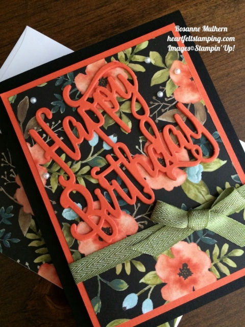 Stampin Up Happy birthday thinlits birthday cards idea - Rosanne Mulhern stampinup