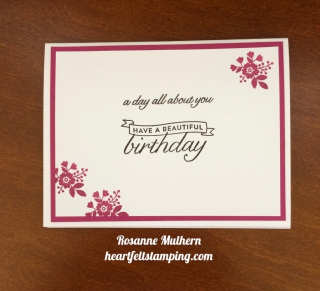 Stampin Up Birthday Blossoms Birthday Card - Rosanne Mulhern stampinup
