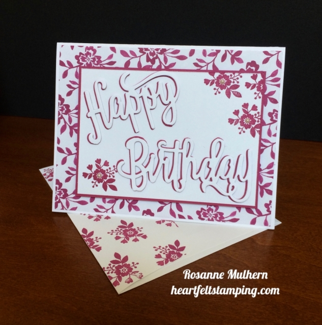 Stampin Up Happy Birthday Die Birthday Card - Rosanne Mulhern stampinup