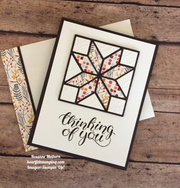 Stampin Up Christmas Quilt Painted Autumn Thinking of You Card - Rosanne Mulhern