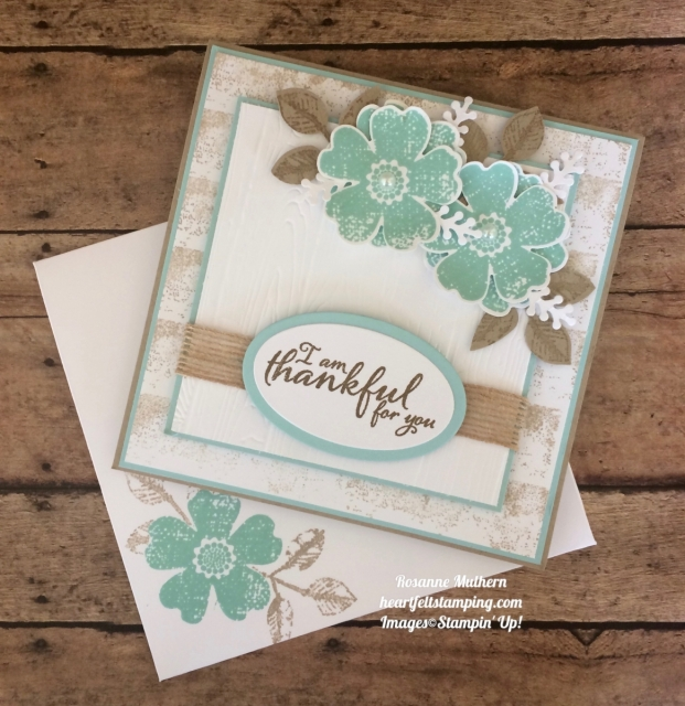 Stampin Up Flower Shop and Painted Autumn Thank you card - Rosanne Mulhern