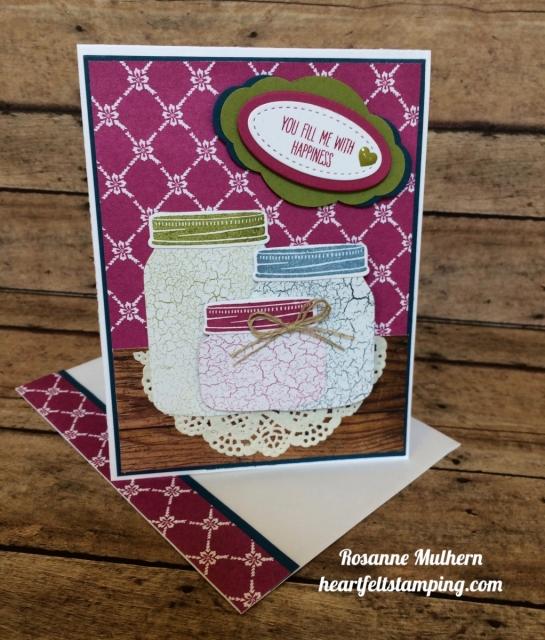 Stampin Up Jar of Love Friendship Card - Rosanne Mulhern
