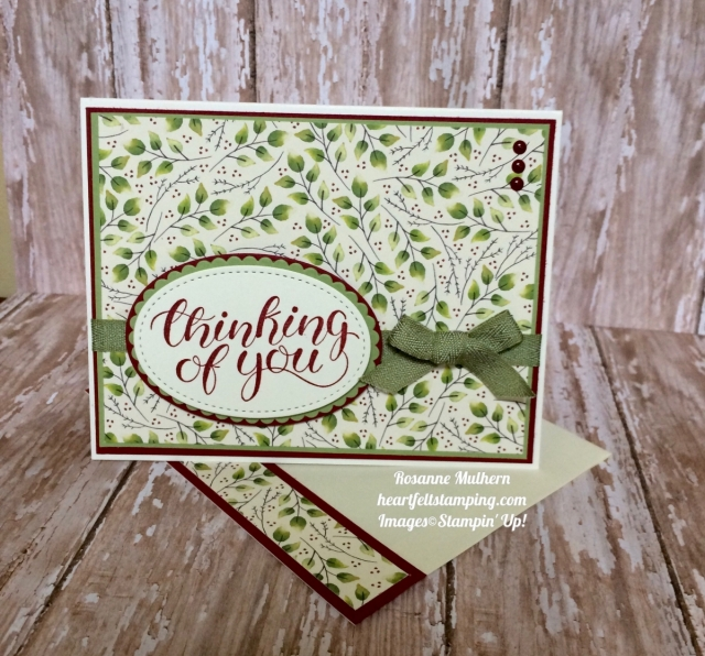 Stampin Up Painted Autumn DSP Thinking of You Card - Rosanne Mulhern