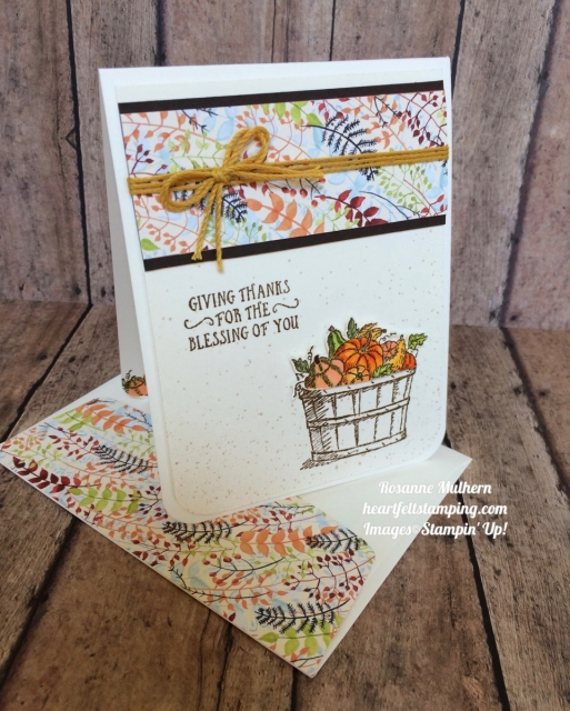 Stampin Up Basket of Wishes Painted Autumn Thank you cards idea - Rosanne Mulhern