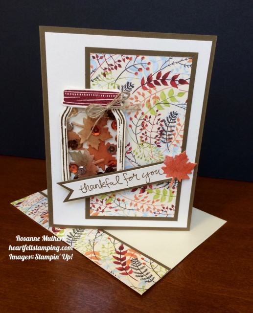 Stampin Up Jar of Love Thank you Thanksgiving Card Ideas- Rosanne Mulhern