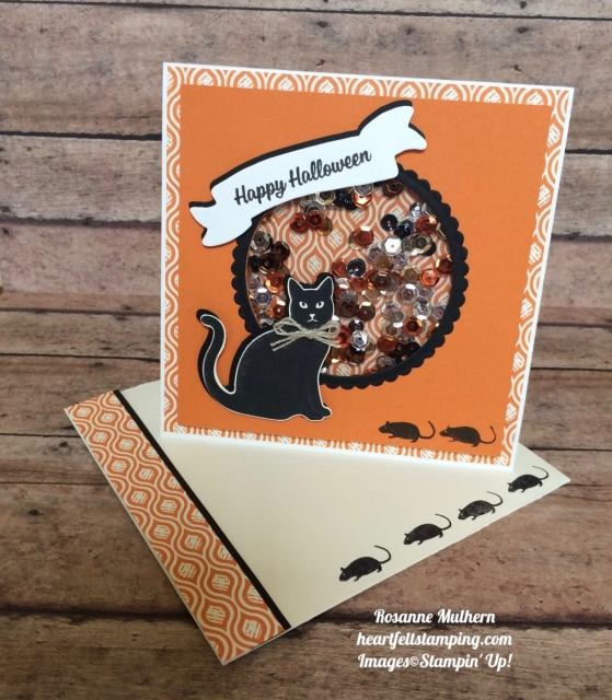 Stampin Up Spooky Cat Halloween Shaker Card - Rosanne Mulhern