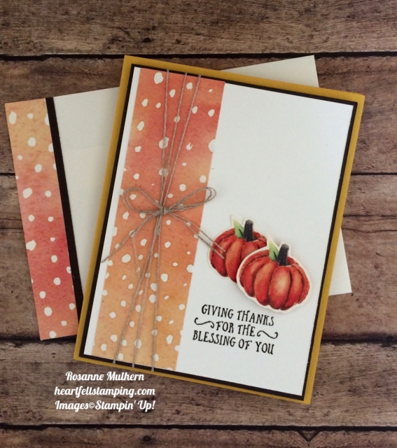 Stampin Up Painted Autumn and Basket of Wishes Thanksgiving Card Idea - Rosanne Mulhern