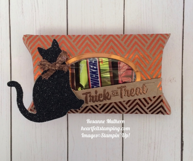 Stampin Up Trim Your Stocking Halloween Pillow Boxes - Rosanne Mulhern