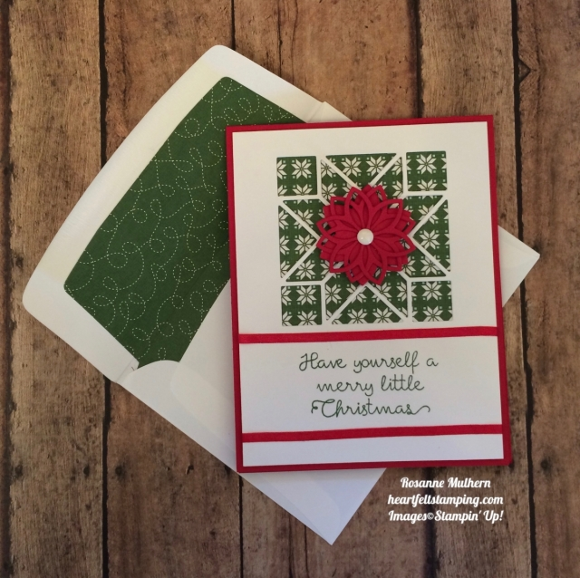 Stampin Up Christmas Quilt Christmas Card - Rosanne Mulhern