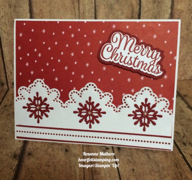Stampin Up Snowflake Sentiments Christmas Card Idea- Rosanne Mulhern