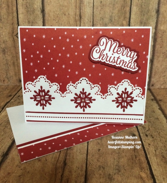 Stampin Up Snowflake Sentiments Christmas Card - Rosanne Mulhern