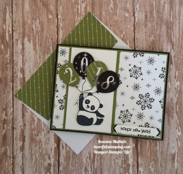 Stampin Up Party Pandas New Years Card - Rosanne Mulhern