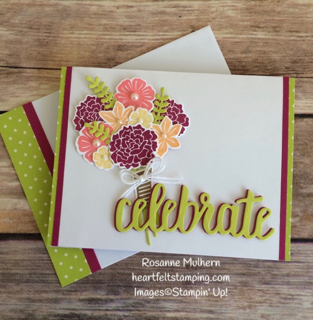 Stampin Up Beautiful Bouquet Birthday Card Idea - Rosanne Mulhern Heartfelt Stamping