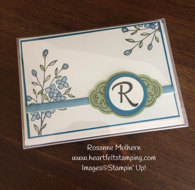 Stampin Up Touches of Texture Mongrammed Note Card Set - Rosanne Mulhern