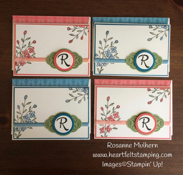 Stampin Up Touches of Texture Mongrammed Note Card Sets - Rosanne Mulhern