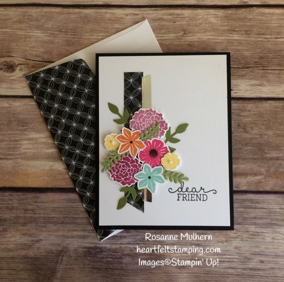 Stampin Up Beautiful Bouquet Friendship Card Idea Rosanne Mulhern Heartfelt Stamping Heartfelt Stamping