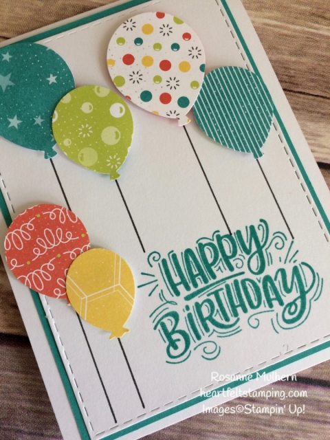 Stampin Up Bubbles and Fizz Balloon Birthday Card-Rosanne Mulhern Heartfelt Stamping