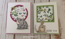 Stampin Up Animal Outing Baby Card Pair - Rosanne Mulhern Heartfelt Stamping