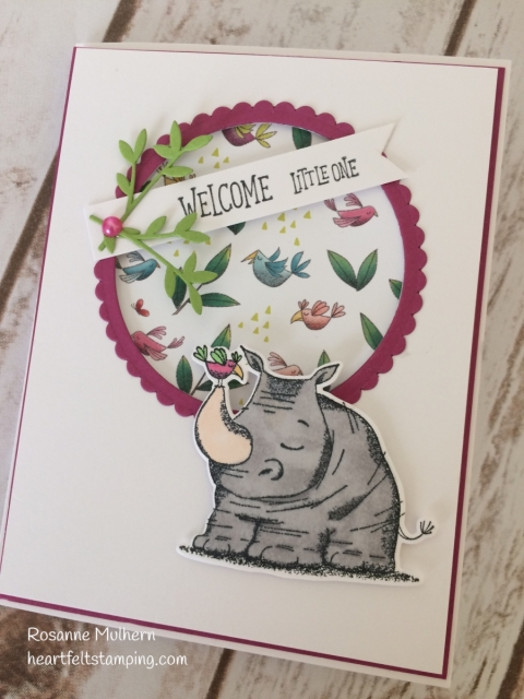 Stampin Up Animal Outing Baby Card -Rosanne Mulhern Heartfelt Stamping