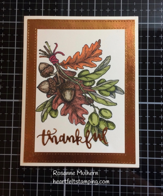 Power Poppy Olive & Oak Thank you card -Rosanne Mulhern Heartfelt Stamping