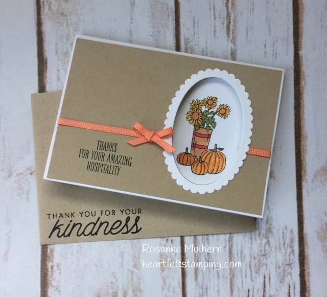 Stampin Up At Home With You Thank You Card- Rosanne Mulhern Heartfelt Stamping