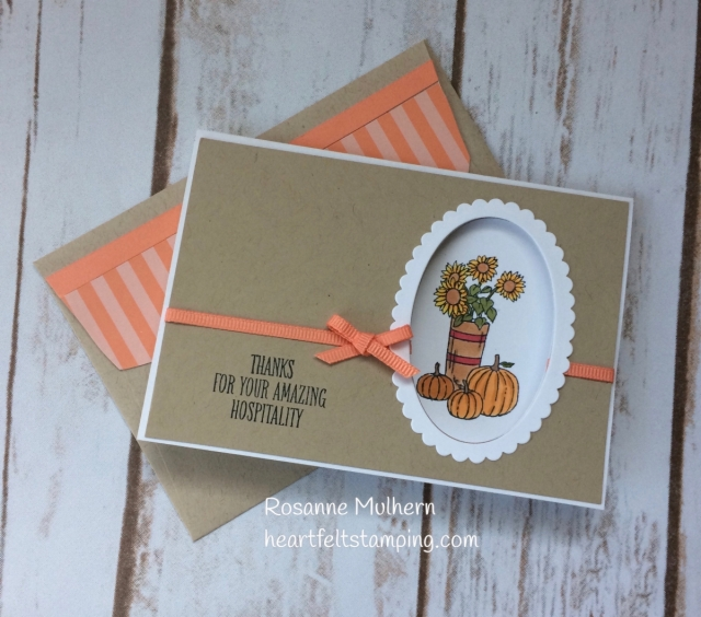 Stampin Up At Home With You Thank You Card - Rosanne Mulhern Heartfelt Stamping