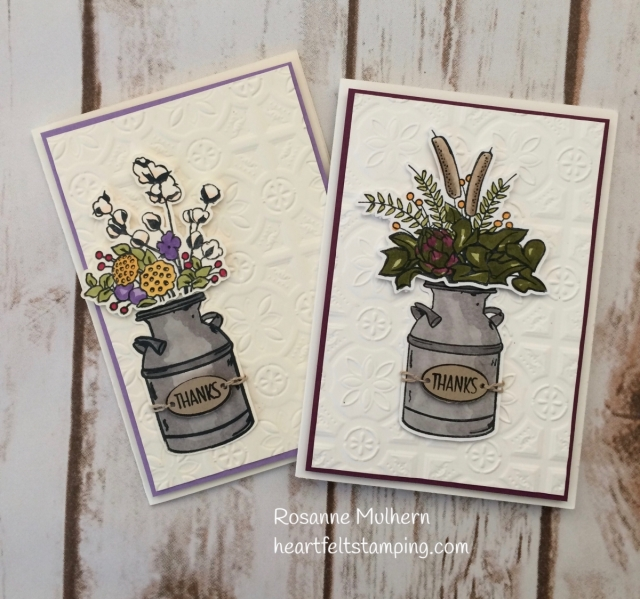 Stampin Up Country Home Thank You Card - Rosanne Mulhern Heartfelt Stamping