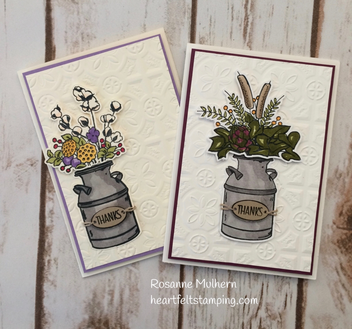 stampin up country home thank you card