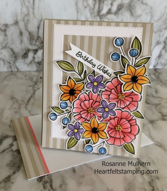 Stampin Up Falling Flowers Birthday Card Idea -Rosanne Mulhern Heartfelt Stamping