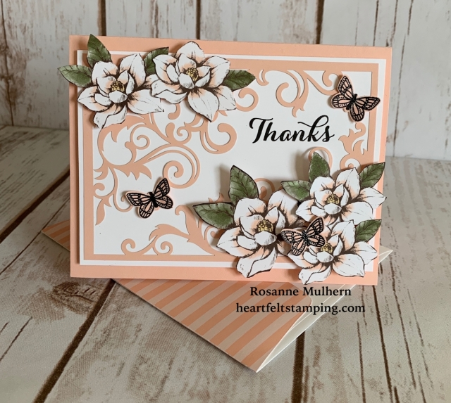 Stampin Up Magnolia Lane Thank You Card - Rosanne Mulhern Heartfeltstamping