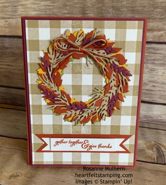 Stampin Up All Around Wreath Thanksgiving Card Idea -Rosanne Mulhern stampinup