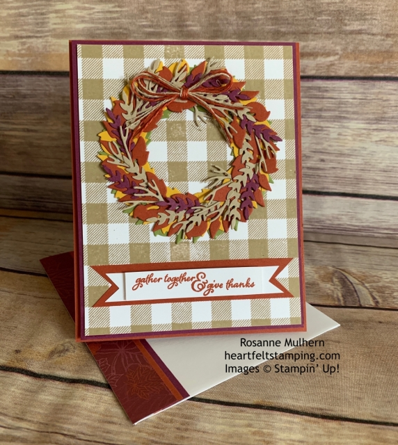 Stampin Up All Around Wreath Thanksgiving Card Idea - Rosanne Mulhern stampinup