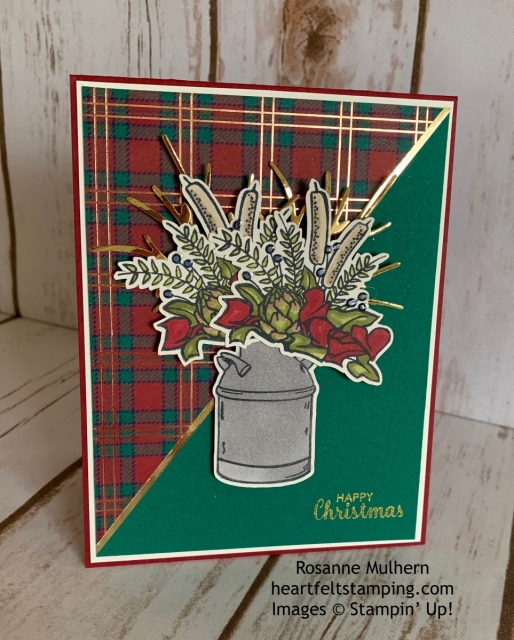 Stampin Up Country Home Wrapped in Plaid Christmas Card Idea -Rosanne Mulhern stampinup