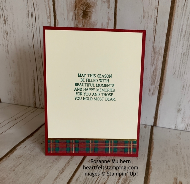 Stampin Up Country Home Wrapped in Plaid Christmas Card Ideas - Rosanne Mulhern stampinup