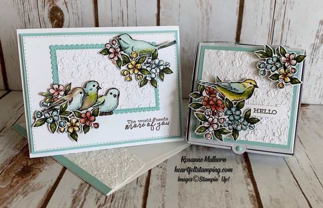 Stampin Up Free as a Bird Friendship Card and Pizza Box Gifts - Rosanne Mulhern stampinup