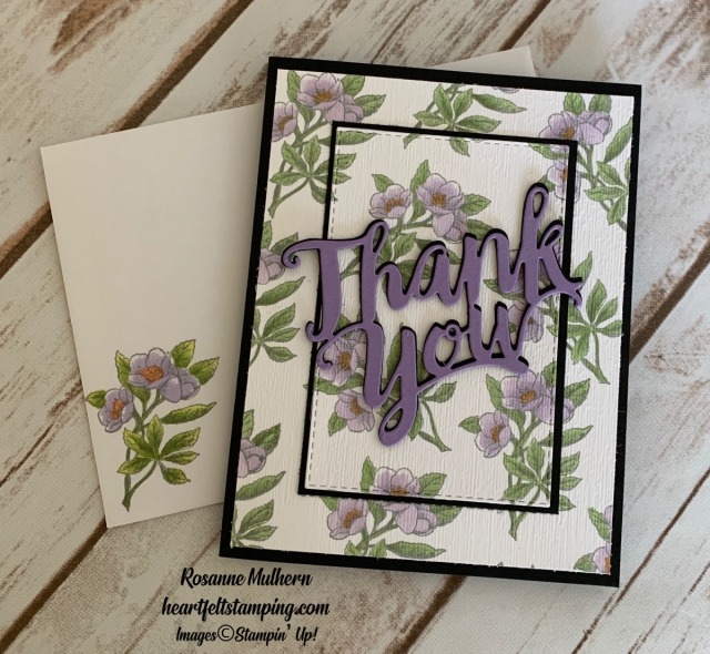 Stampin Up Botanical Prints Thank You Card Idea -Rosanne Mulhern stampinup