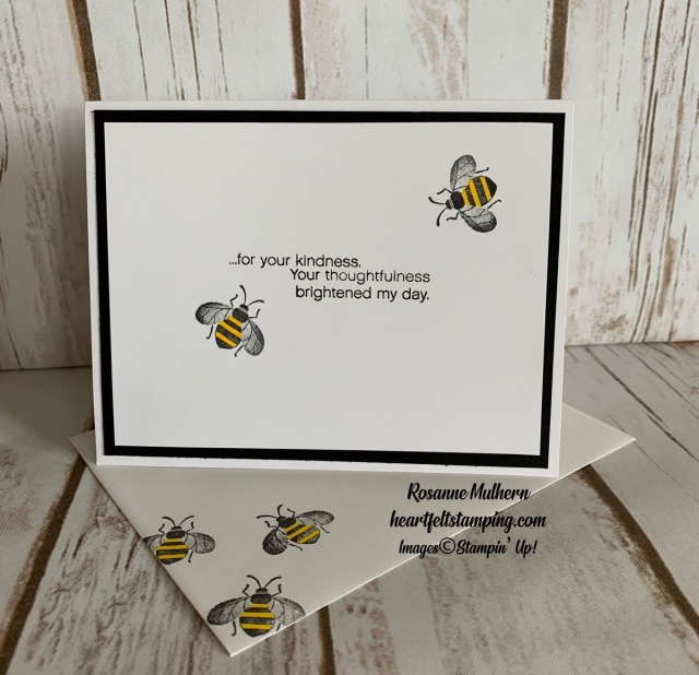Stampin Up Honey Bee Thank You Card Idea -Rosanne Mulhern stampinup