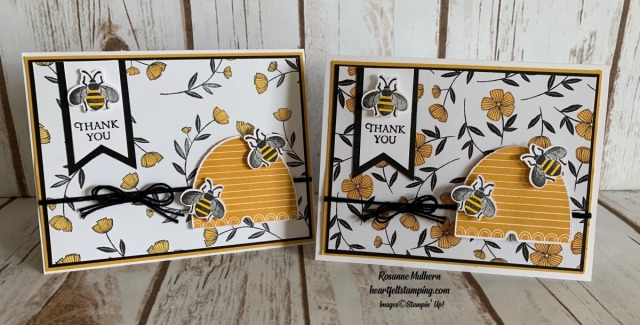 Stampin Up Honey Bee Thank You Card Idea- Rosanne Mulhern stampinup