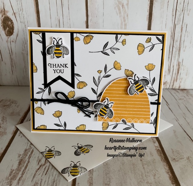 Stampin Up Honey Bee Thank You Card Idea - Rosanne Mulhern stampinup