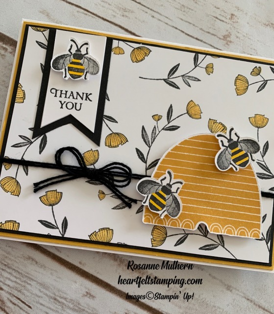 Stampin Up Honey Bee Thank You Card Ideas- Rosanne Mulhern stampinup